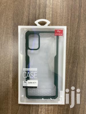 Galaxy A71 Transparent Black,Green Edges Cover Case