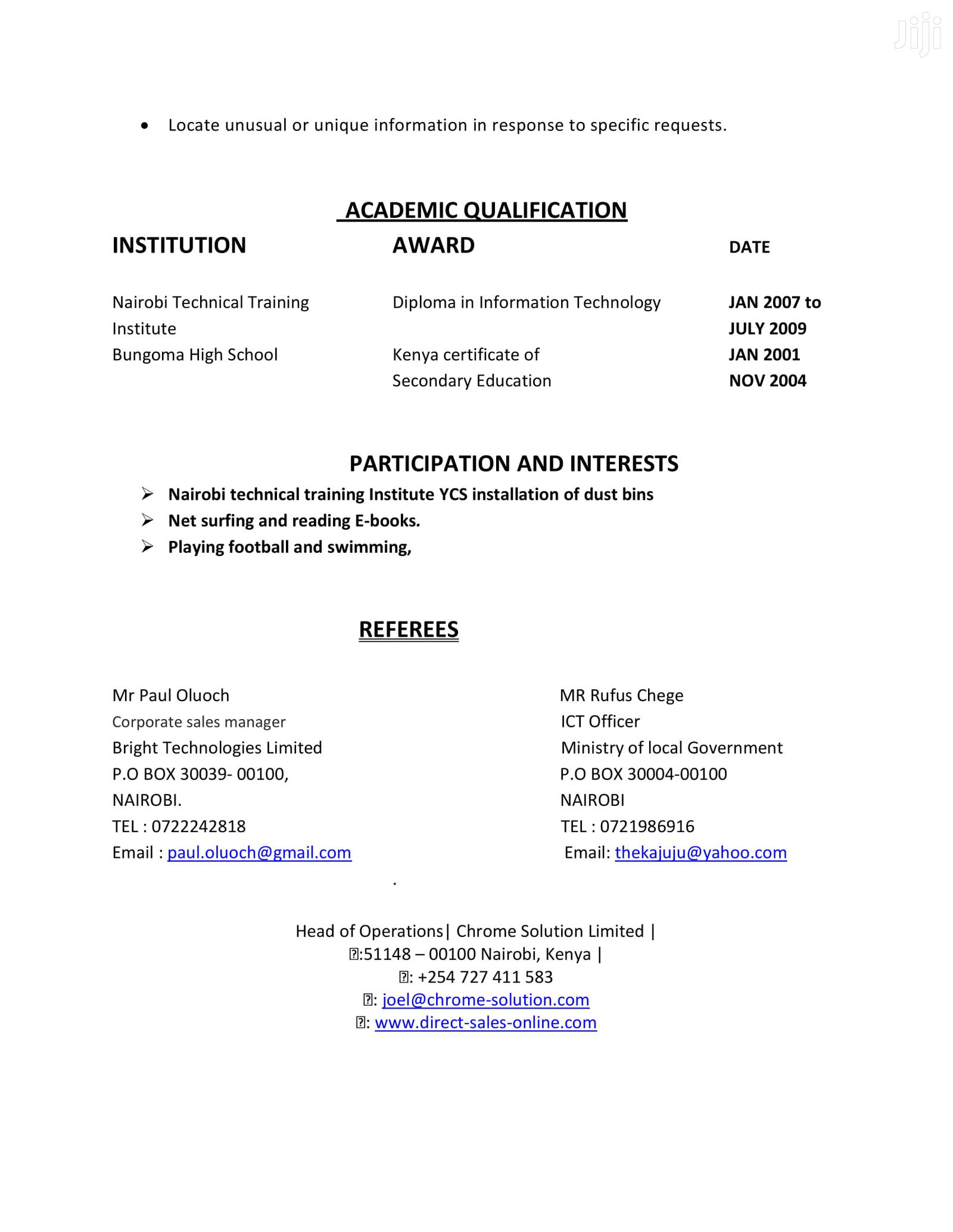 Data Entry/Copy Pasting Clerk | Computing & IT CVs for sale in Nairobi Central, Nairobi, Kenya