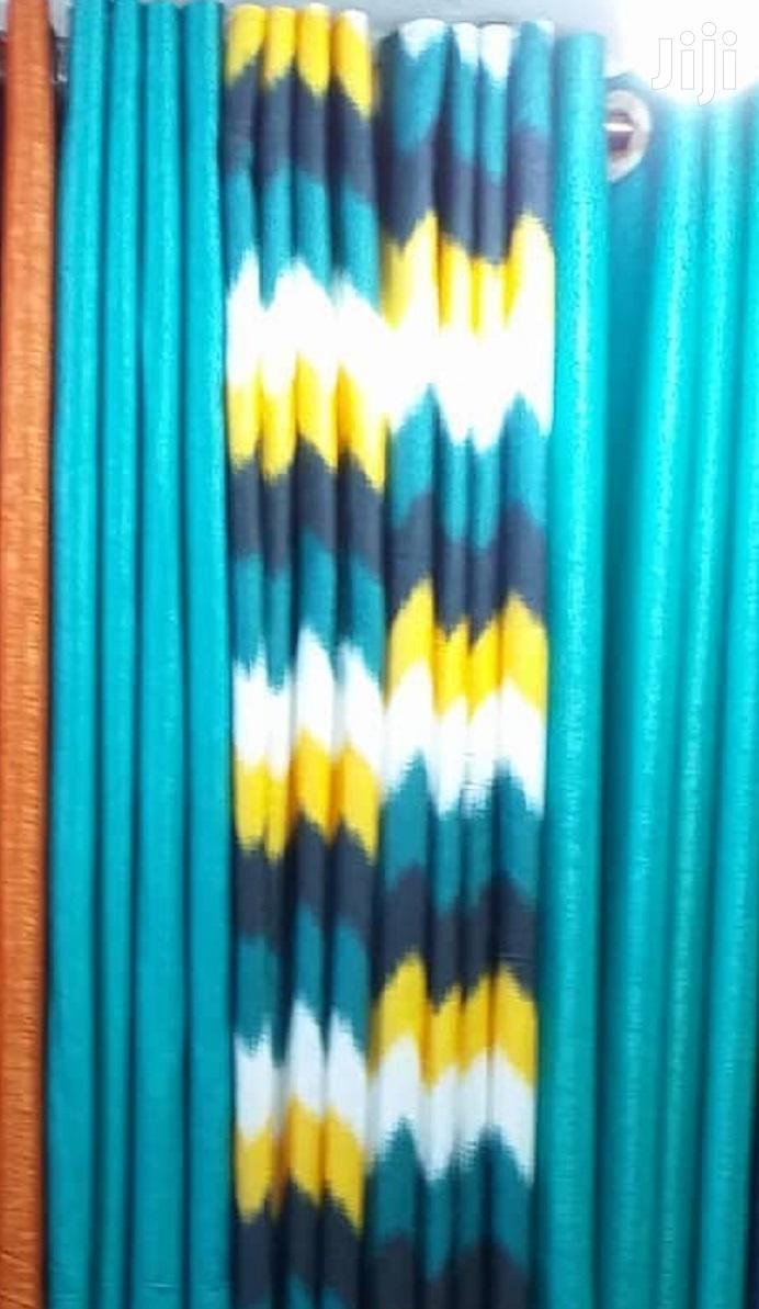 Blue Print Linen Decorative Curtains