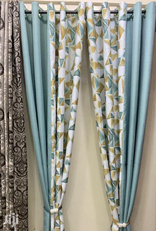Linen Blue Print Decorative Curtains