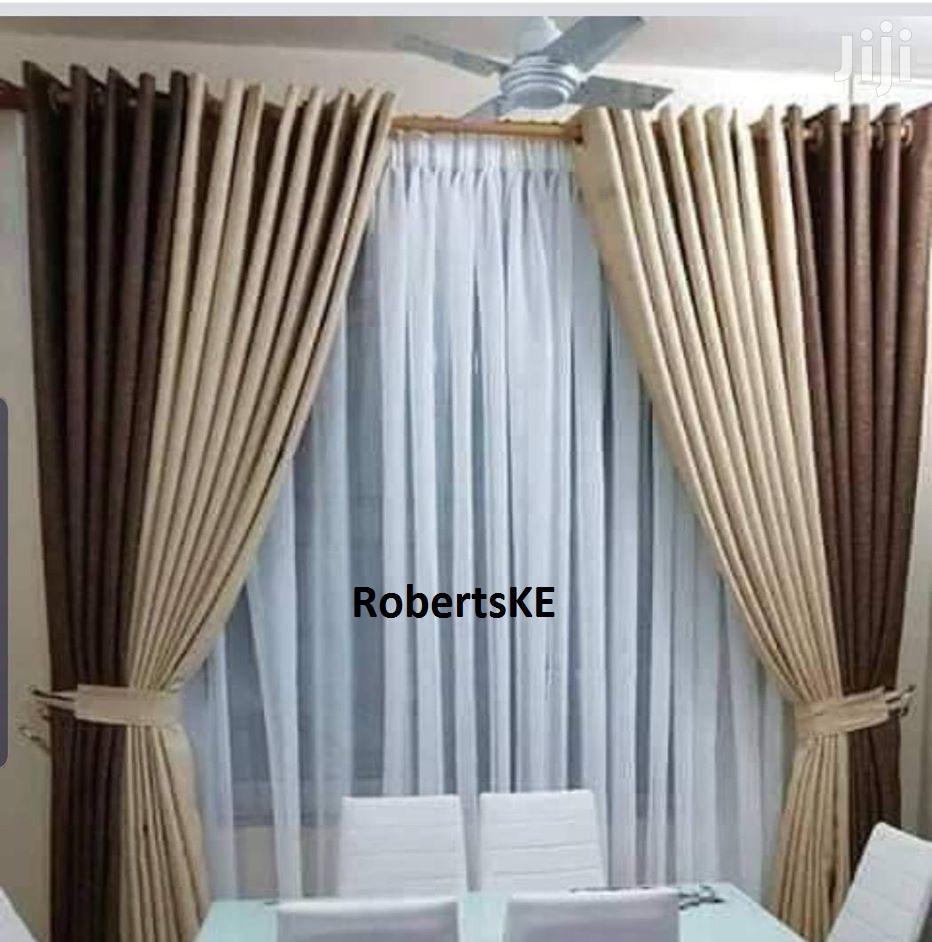 Plain Color Chocolate Brown Linen Curtain