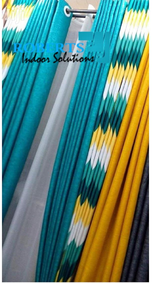 Blue And Yellow Decorative Curtains