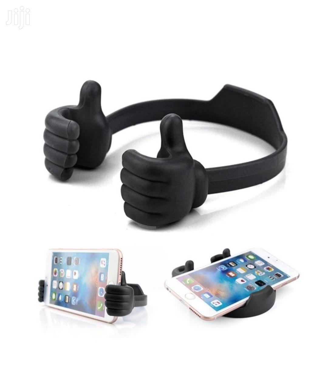 Black Flexible Adjustable Mobile Phone Thumb Grip Stand