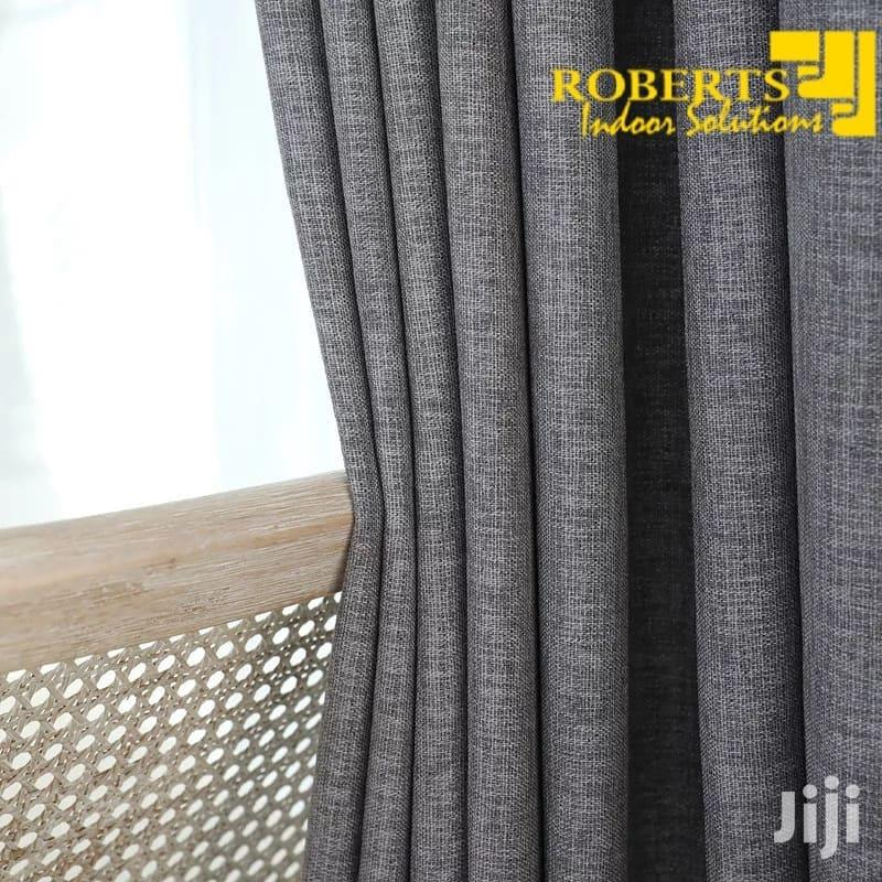 Grey Plain Linen Curtain