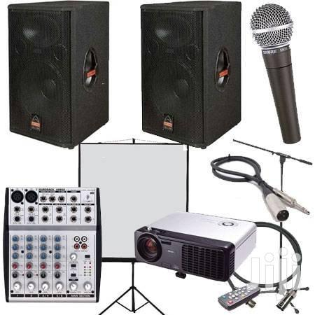 Archive: PA System, Projector And Tripod Screen Combo For Hire