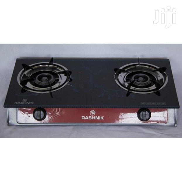 Rashnik RN-1518, 2 Burner Glass Top Gas Stove - Black