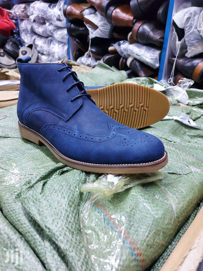 Blue Pure Leather Boots