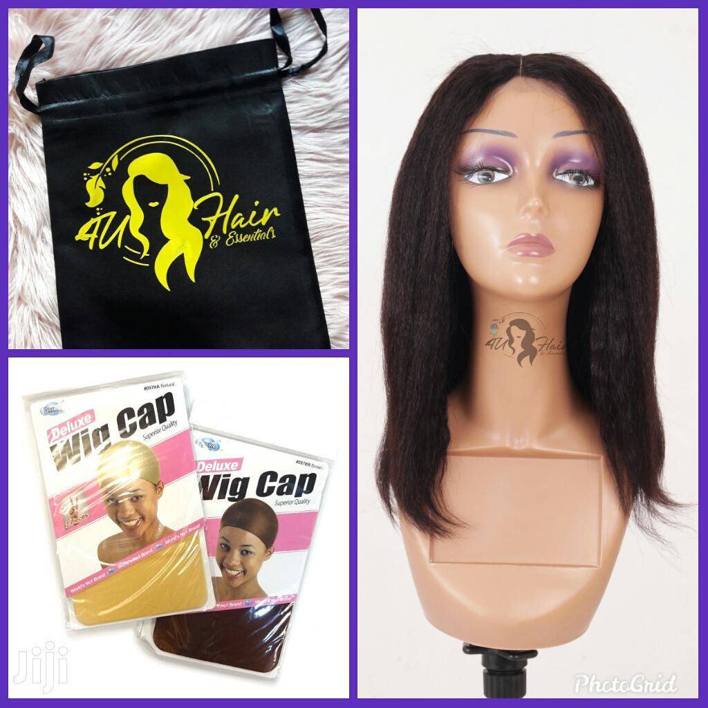 Straight Kinky 100% Human Hair+( Branded Bag 2 Wig Caps) | Hair Beauty for sale in Nairobi Central, Nairobi, Kenya