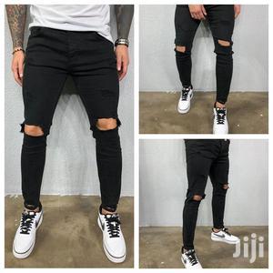 Men Knee Ragged Jeans - Black   Clothing for sale in Nairobi, Nairobi Central