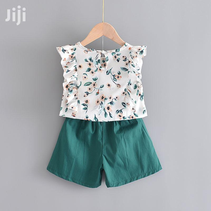 Archive: Floral Kids Sets Sleeveless T-Shirt+Solid Shorts Children
