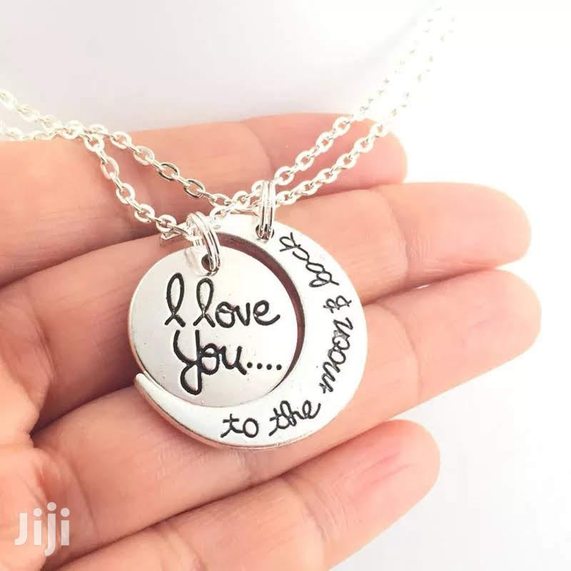""""""" To The Moon And Back"""" Customized Couples Gift Necklace 