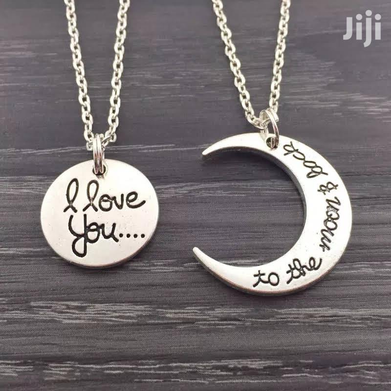 """"""" To The Moon And Back"""" Customized Couples Gift Necklace"""