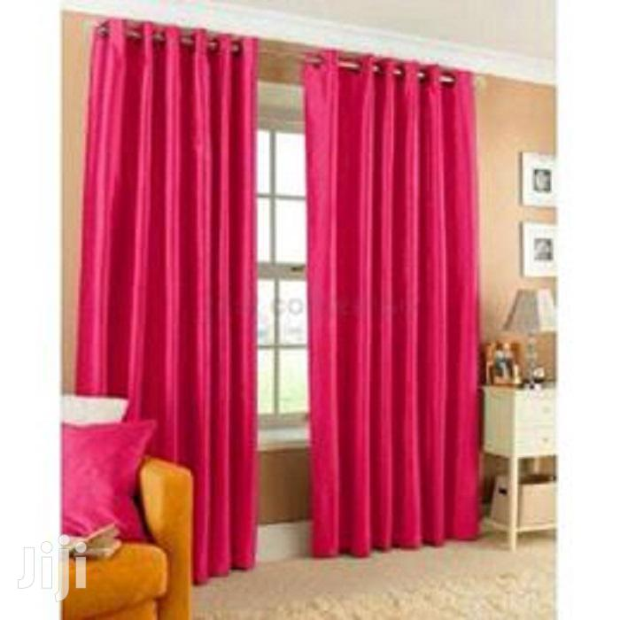 Fancy Plain Pink and Green Linen Curtains