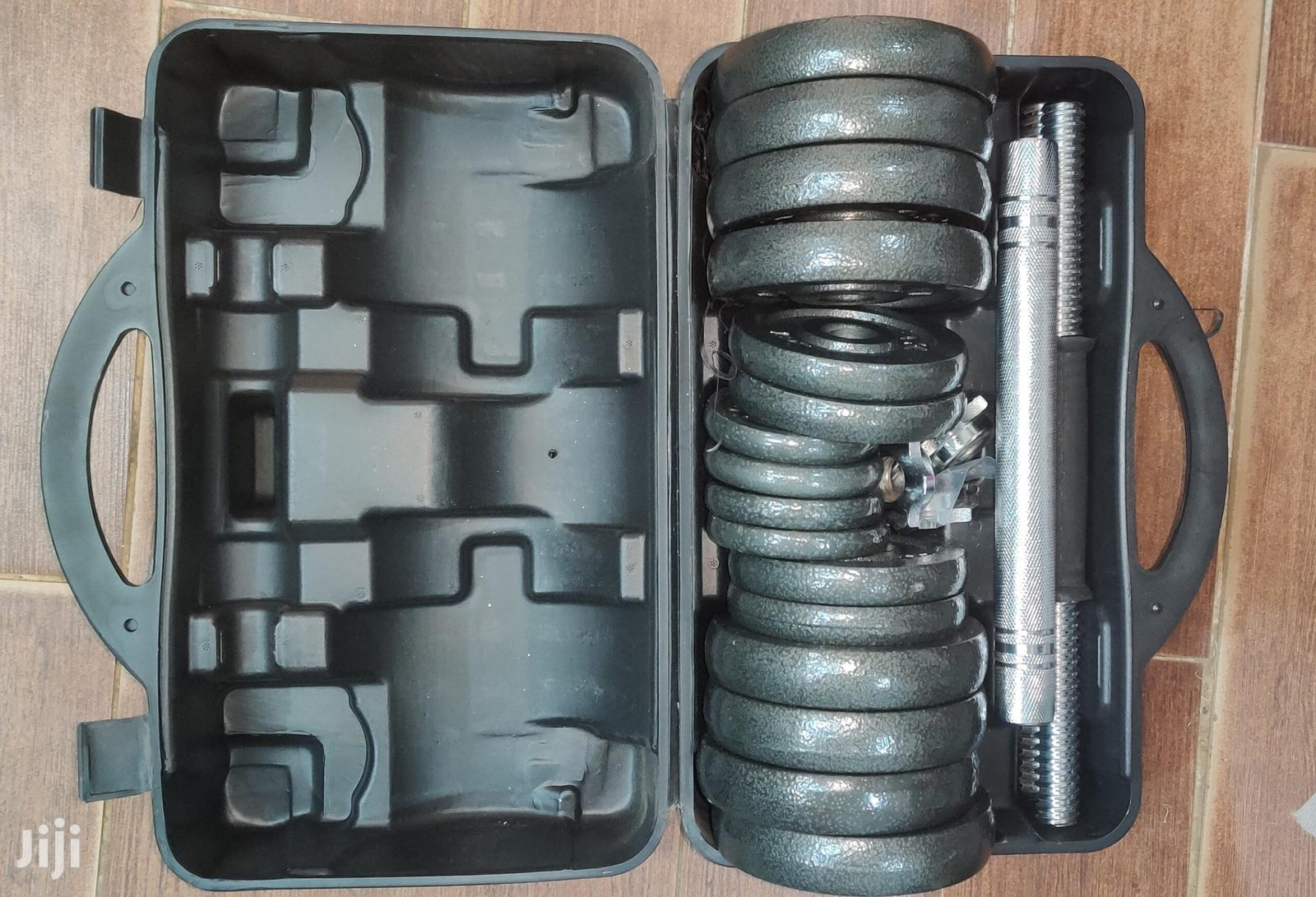 30kg Adjustable Dumbbell Set With Straight Barbell