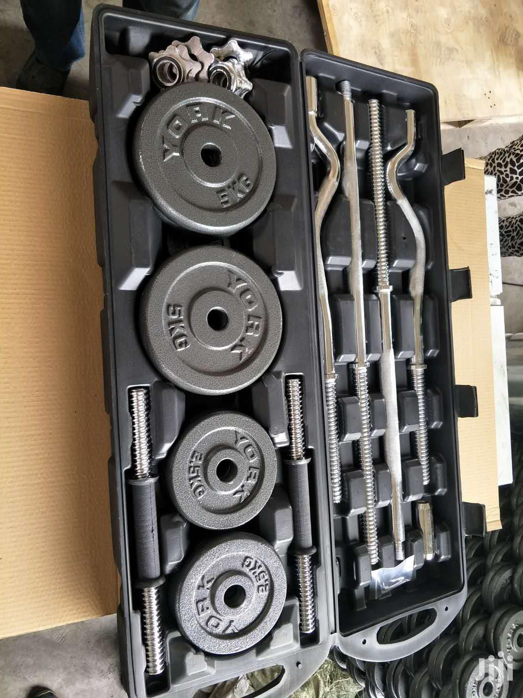 55kg Adjustable Dumbbell Set With Straight Barbell And Zigz | Sports Equipment for sale in Parklands/Highridge, Nairobi, Kenya