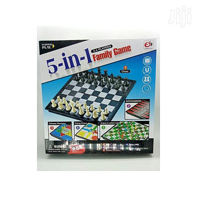 5 In 1 Family Game-chess, Snake& Ladder,