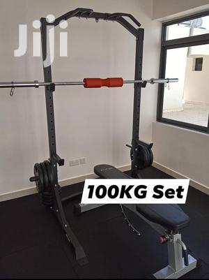 100KG Olympic Weights Barbell Plus Multi Use Squat Rack | Sports Equipment for sale in Nairobi, Kilimani