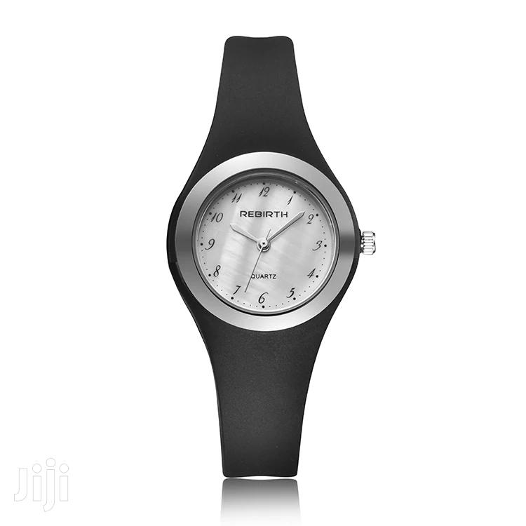 Ladies Rebirth Black Silicon Strap Watch