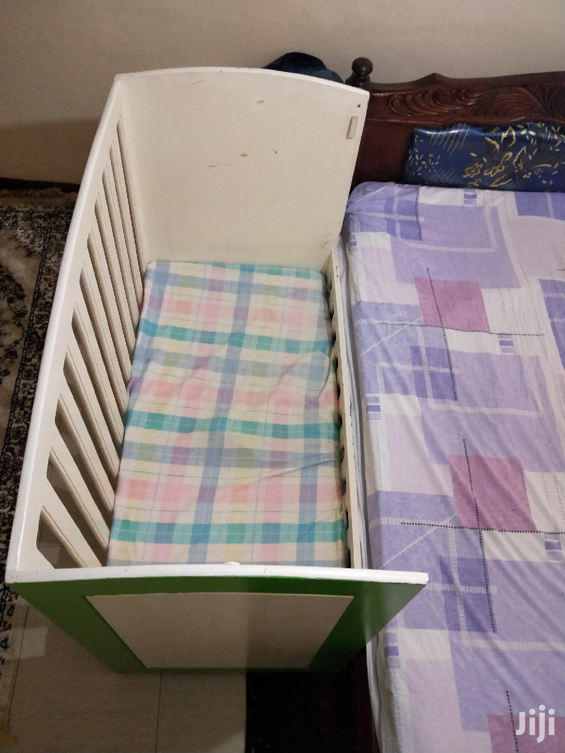 Archive: Baby Cot White And Green Colours