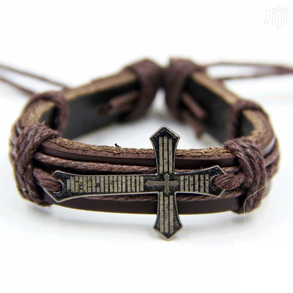 Fashion Leather Bracelet - CRWS-BRWN