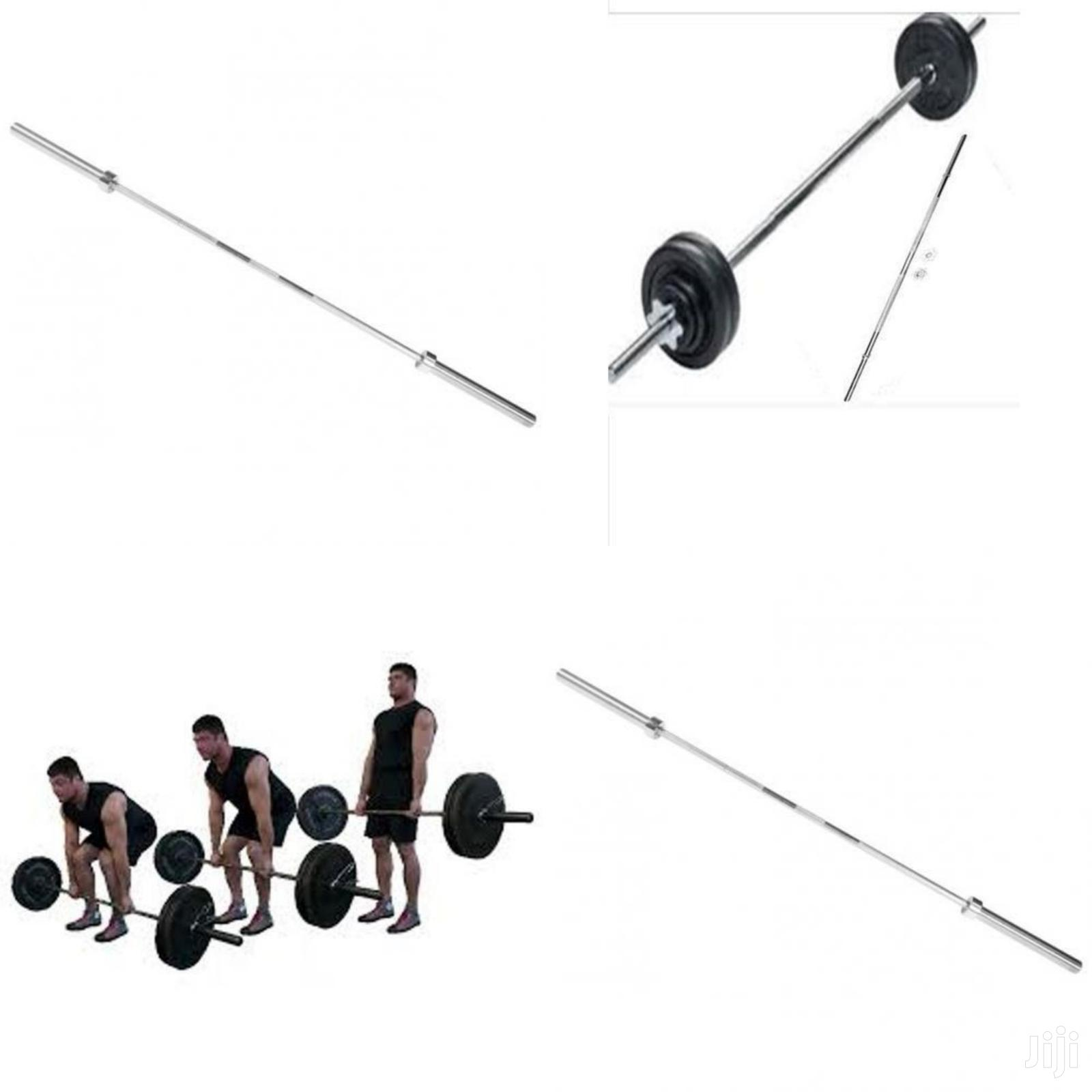 Gym Weight Straight Barbell Long Bar - Silver