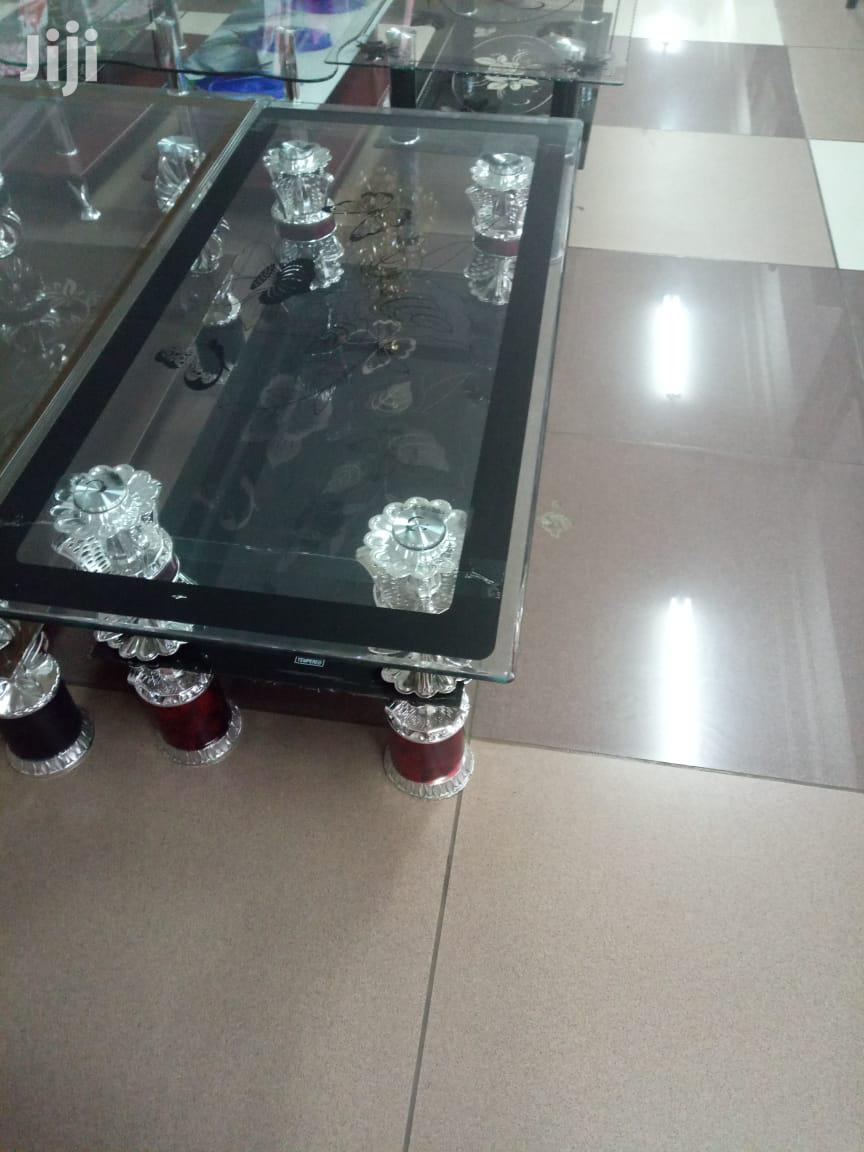 Clear Glass Floral Coffee Table