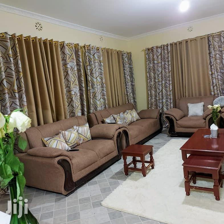 Fancy Brown Printed and Plain Curtains