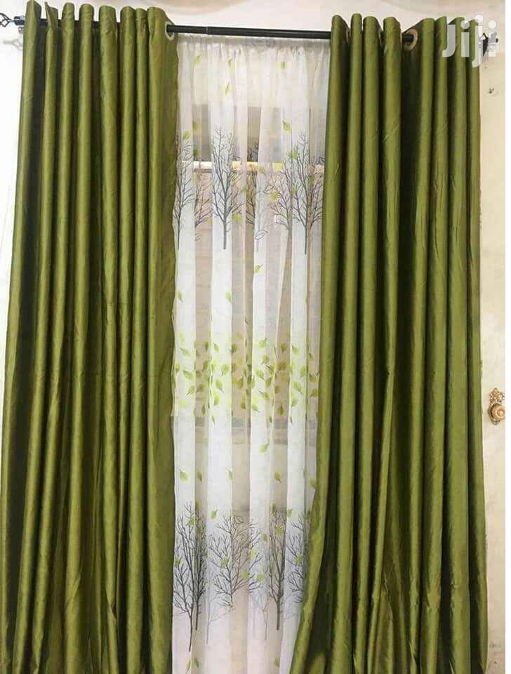 Elegant Plain Green Linen Curtains