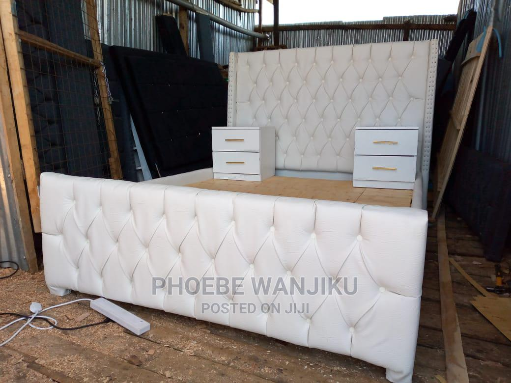 5 by 6 White Modern Bed+ 2 Side Drawers