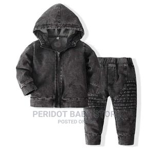 Soft Denim Boys Clothing Set - Pants + Hood- BLACK BLUE | Children's Clothing for sale in Kajiado, Ongata Rongai