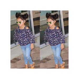 2pcs Girl Clothing Set Floral Top + Girls Jeans | Children's Clothing for sale in Kajiado, Ongata Rongai