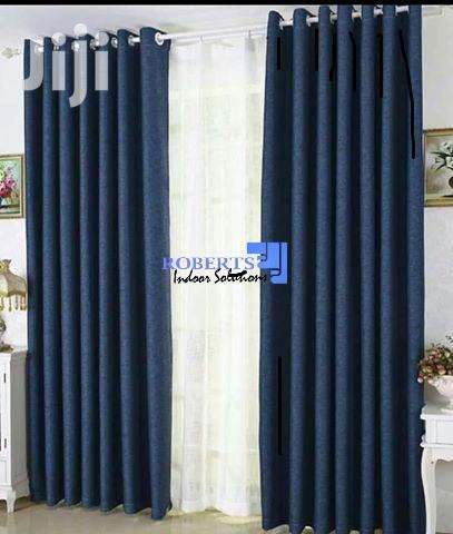 Plain Blue Linen Curtain