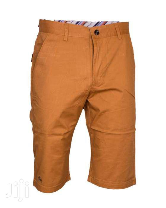 Men Soft Khaki Shorts-beige