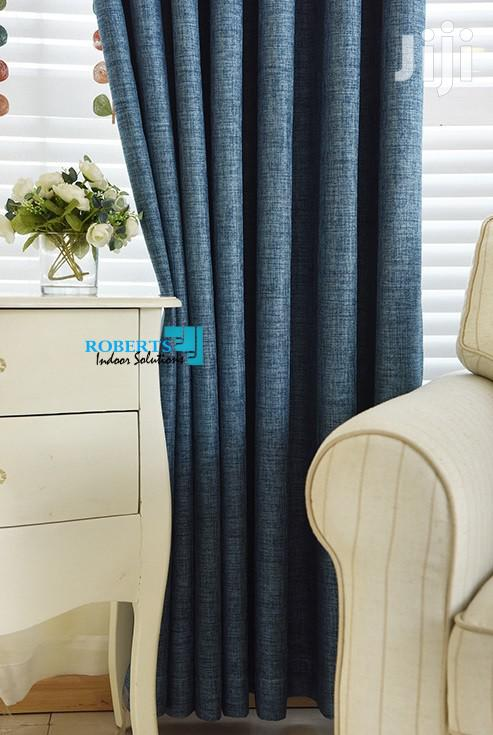 Blue Plain Linen Curtain