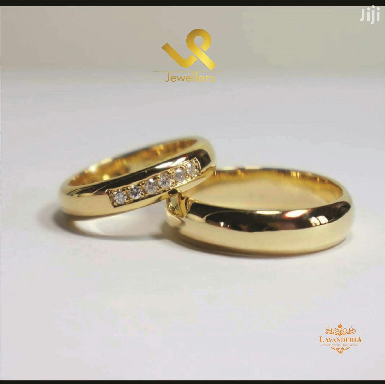 18k Gold Bride N Groom Matching Wedding Band Rings.