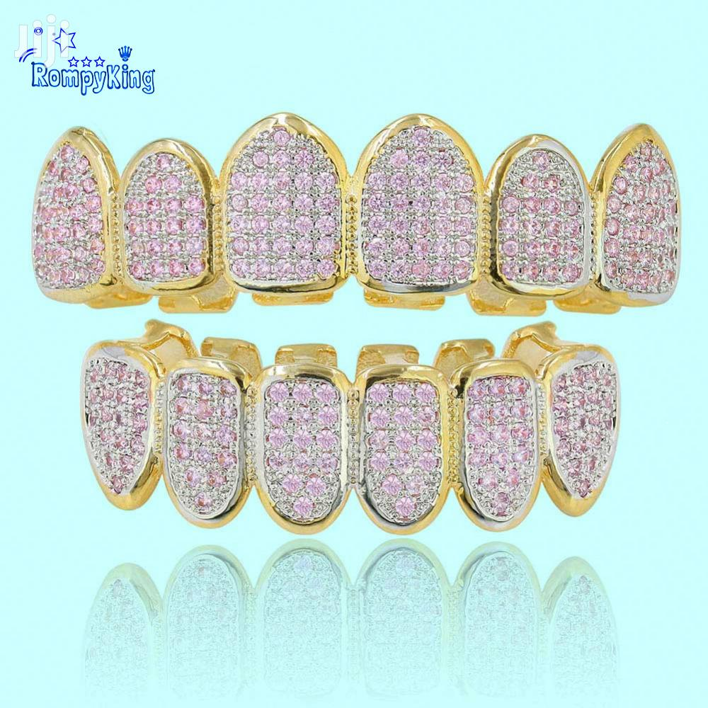 Pink and White CZ Stone Iced Grillz/Slugs- 18k Gold Hip Hop
