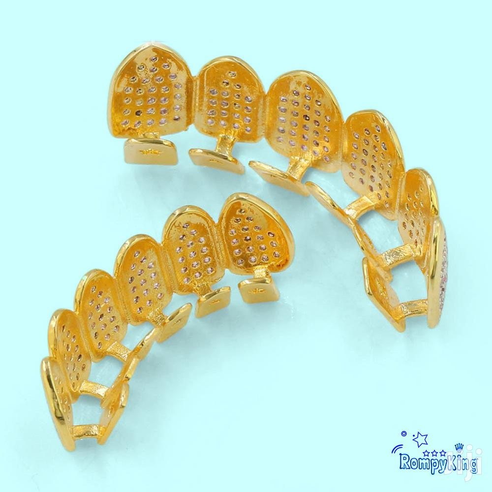 Pink and White CZ Stone Iced Grillz/Slugs- 18k Gold Hip Hop | Jewelry for sale in Nairobi Central, Nairobi, Kenya