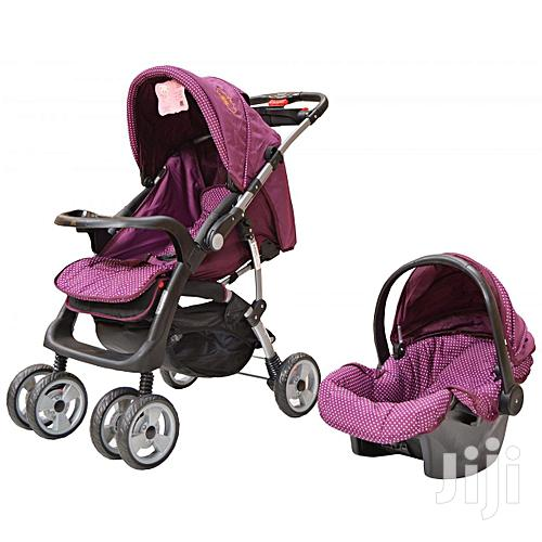 Archive: Maroon Foldable Baby Stroller/ Pram/Push Chair/ Buggy & Baby Carrier