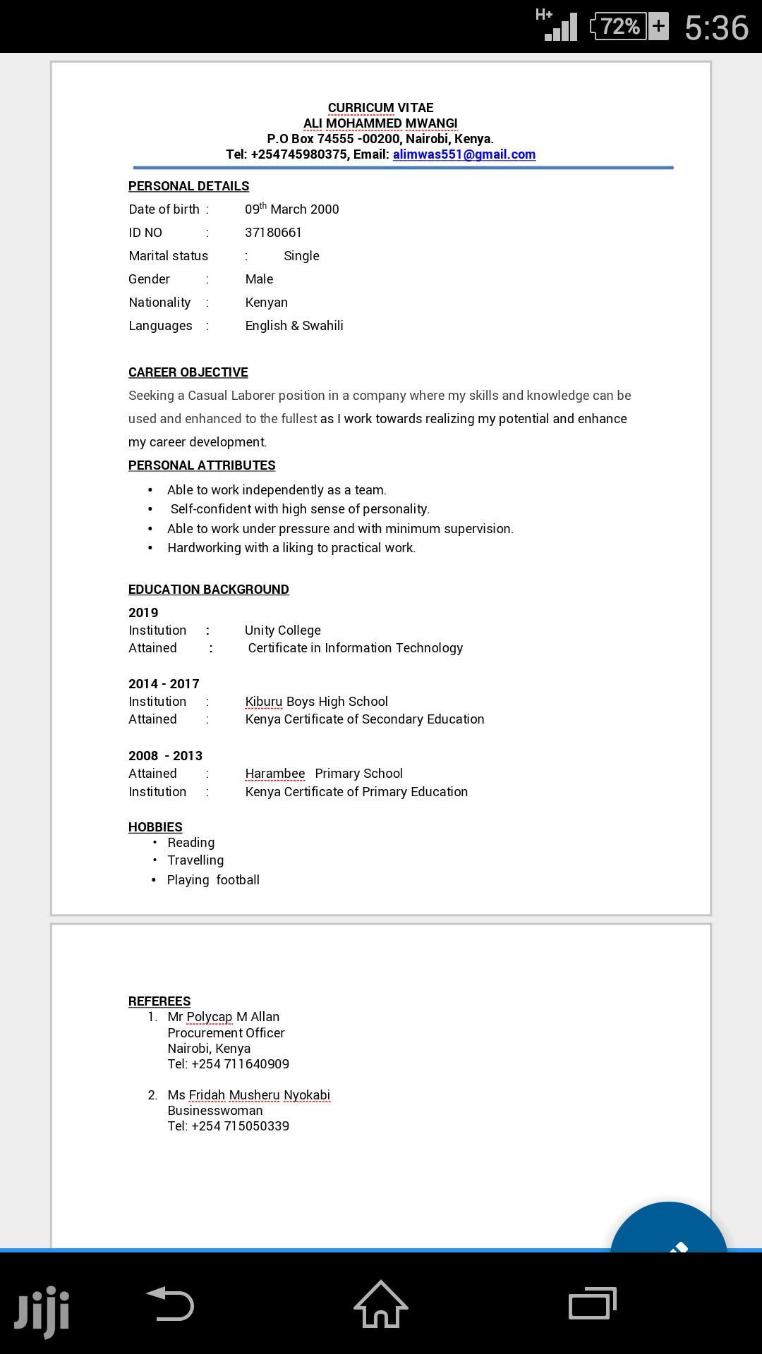 Sales Telemarketing CV