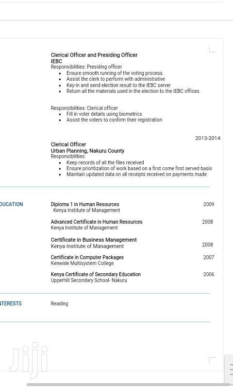 NGO Jobs In Nakuru | Human Resources CVs for sale in London, Nakuru, Kenya