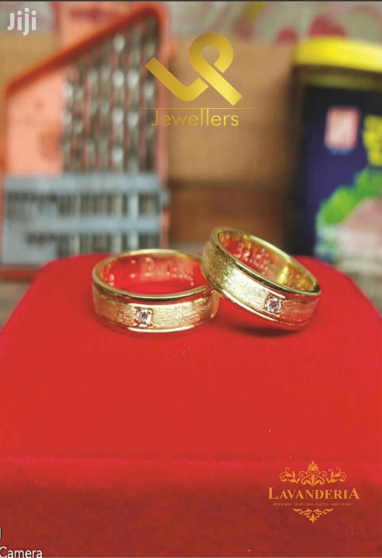 Custom Made 18k Yellow Gold Bride N Groom Unisex Wedding Band Rings