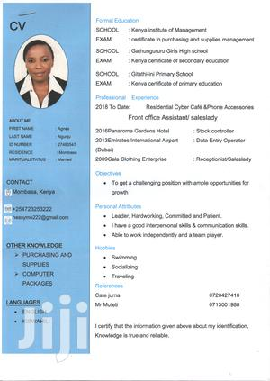 Administrative Assistant/Bookkeeper   Clerical & Administrative CVs for sale in Nyali, Ziwa la Ngombe