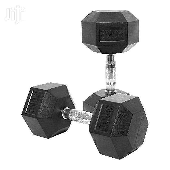 Hexagon Shaped Rubber Dumbbells Weights Gym Fitness