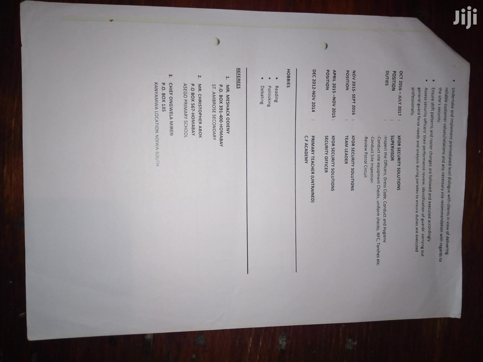 Senior supervisor | Security CVs for sale in Embakasi, Nairobi, Kenya