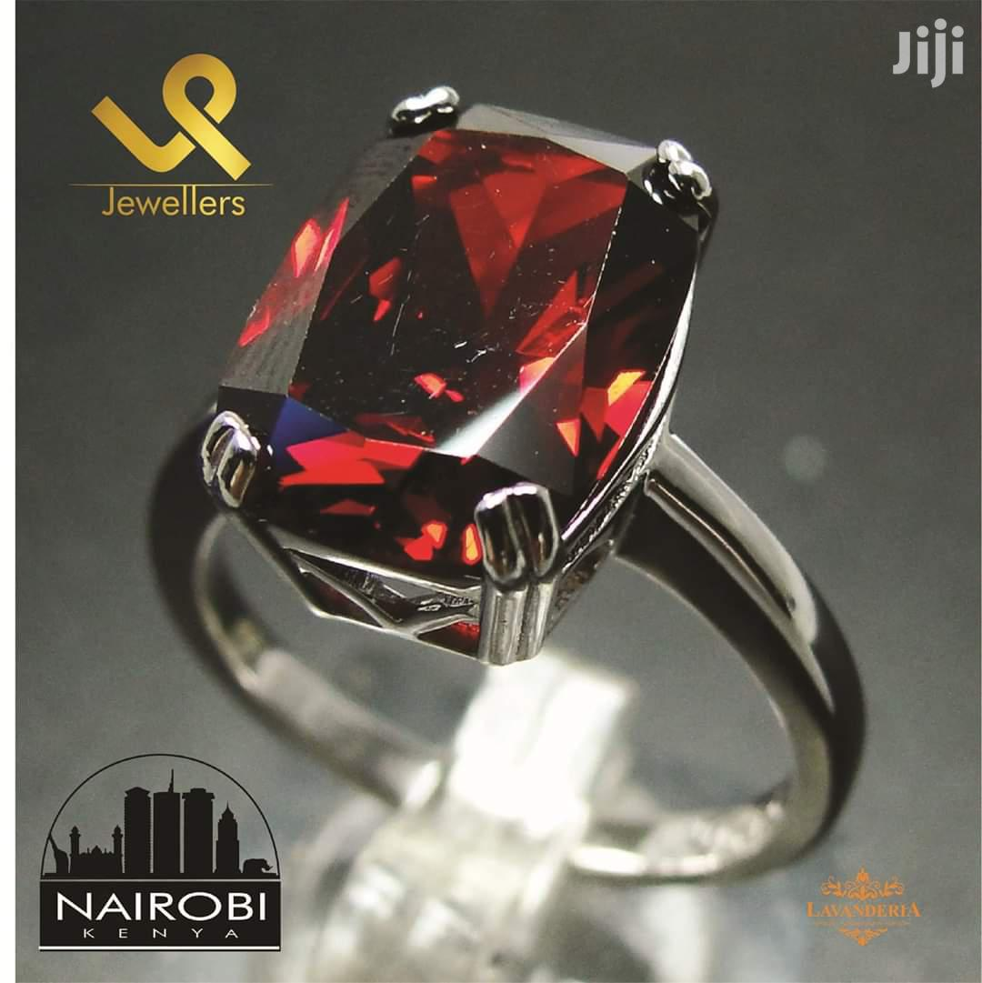 Synthetic Red Garnet Ladies Sterling Silver Cocktail Engagement Ring