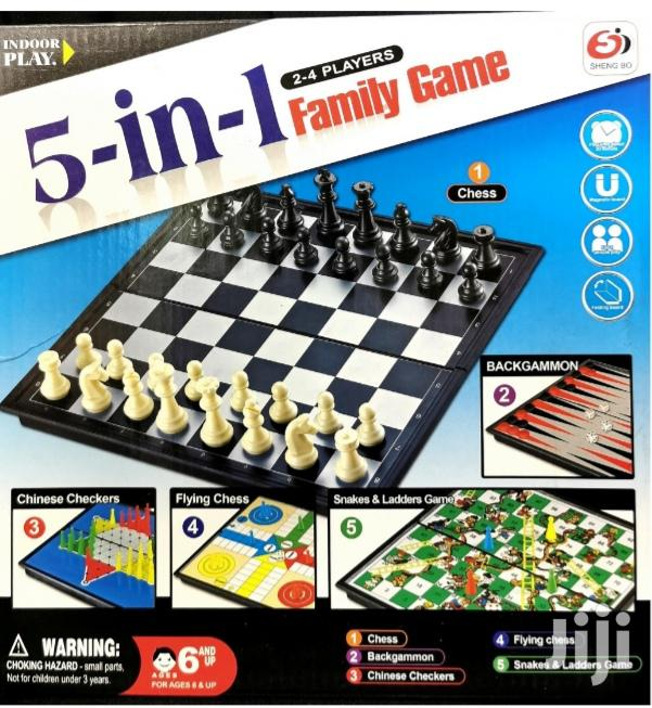 5 In 1 Game Board: Snakes Ladders + Chess + Draught