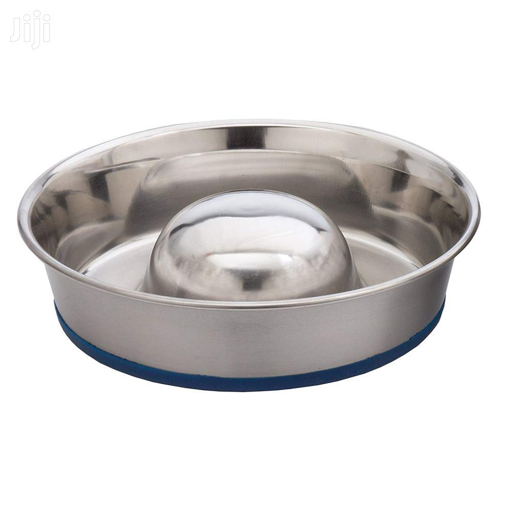 """Stainless Steel Pet Dog Slow Feed Bowls With Non Skid Base, 7"""" X 1.5"""""""