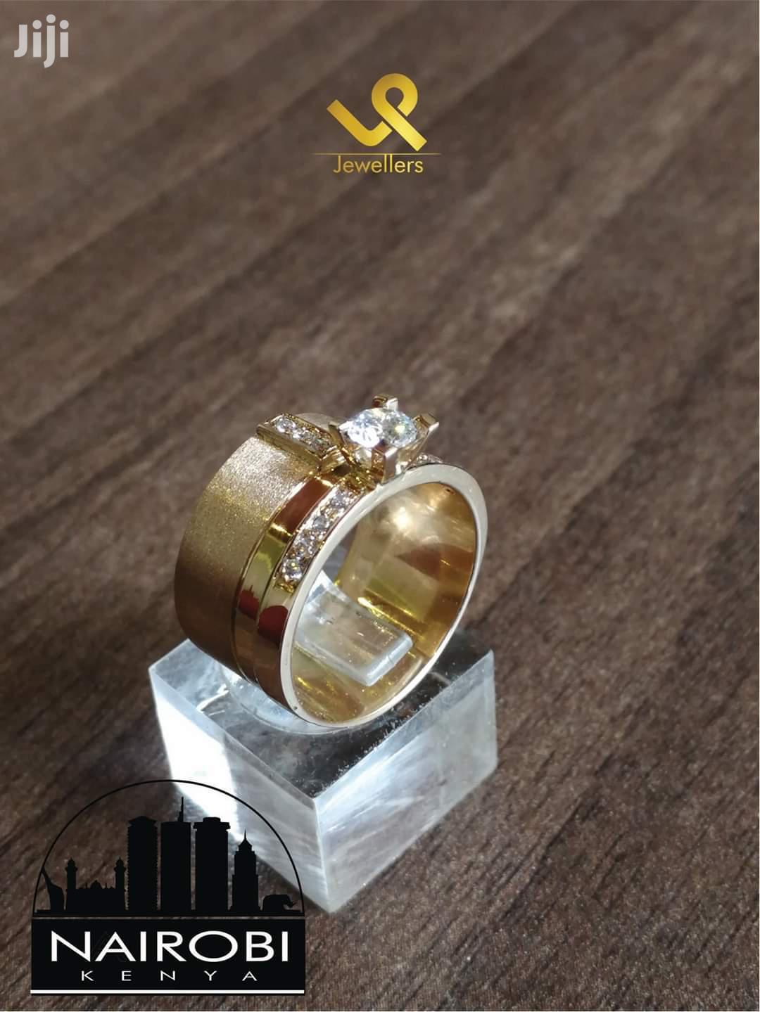 Ladies Bejewelled Engagement/Wedding Ring 18k Gold Custom Made. 12mm