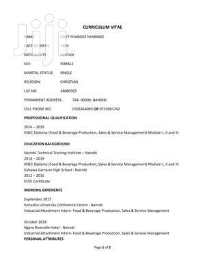 Hotel Jobs in Nakuru | Hotel CVs for sale in Nakuru, Njoro