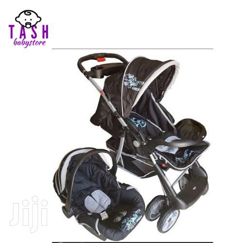 Superior 3 In 1 Baby Stroller Set - Black & Grey